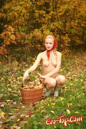 девушка собирает грибы в лису эротические фото