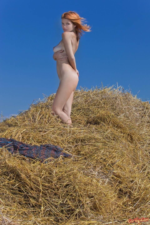 Обнаженная сучка на сене