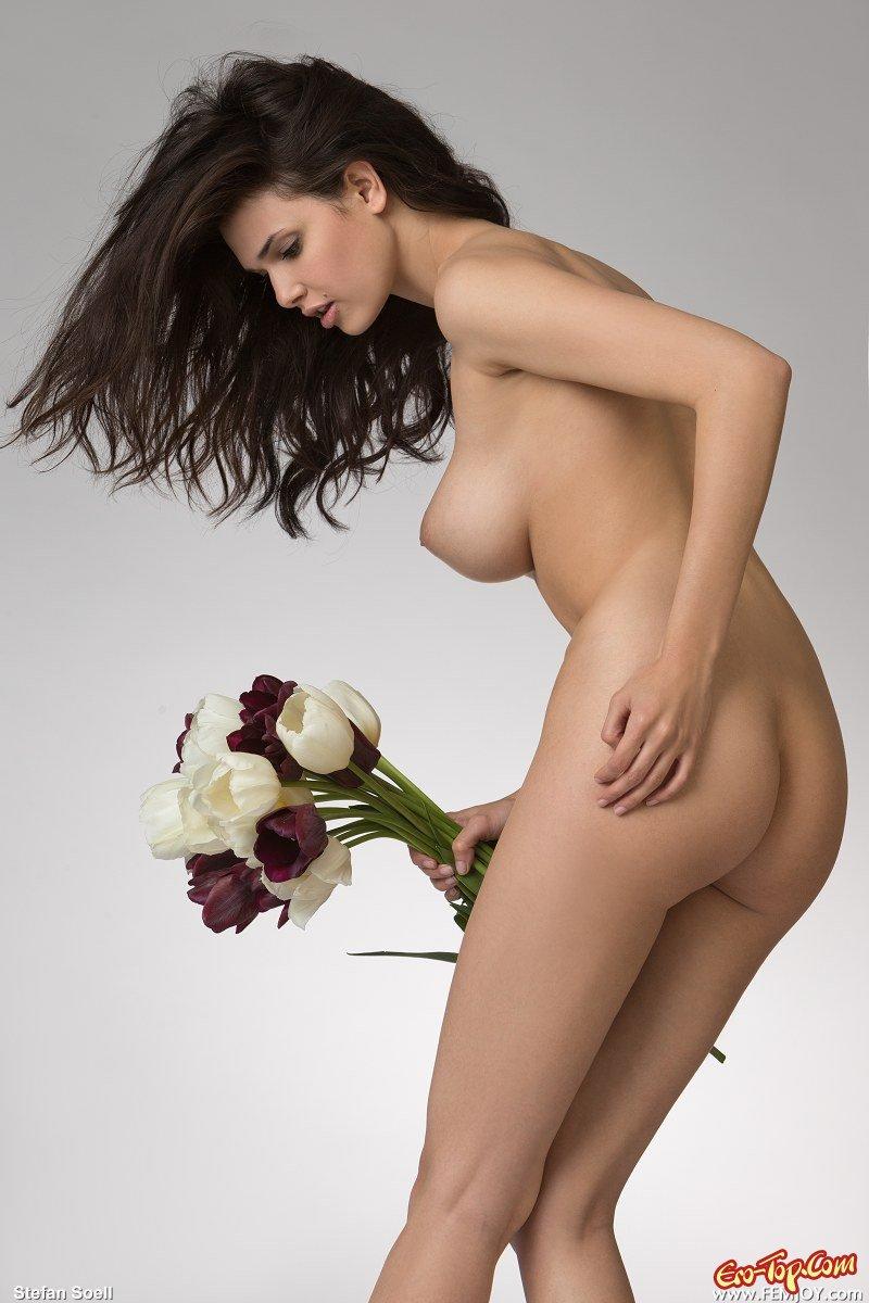 Тёлка с тюльпанами