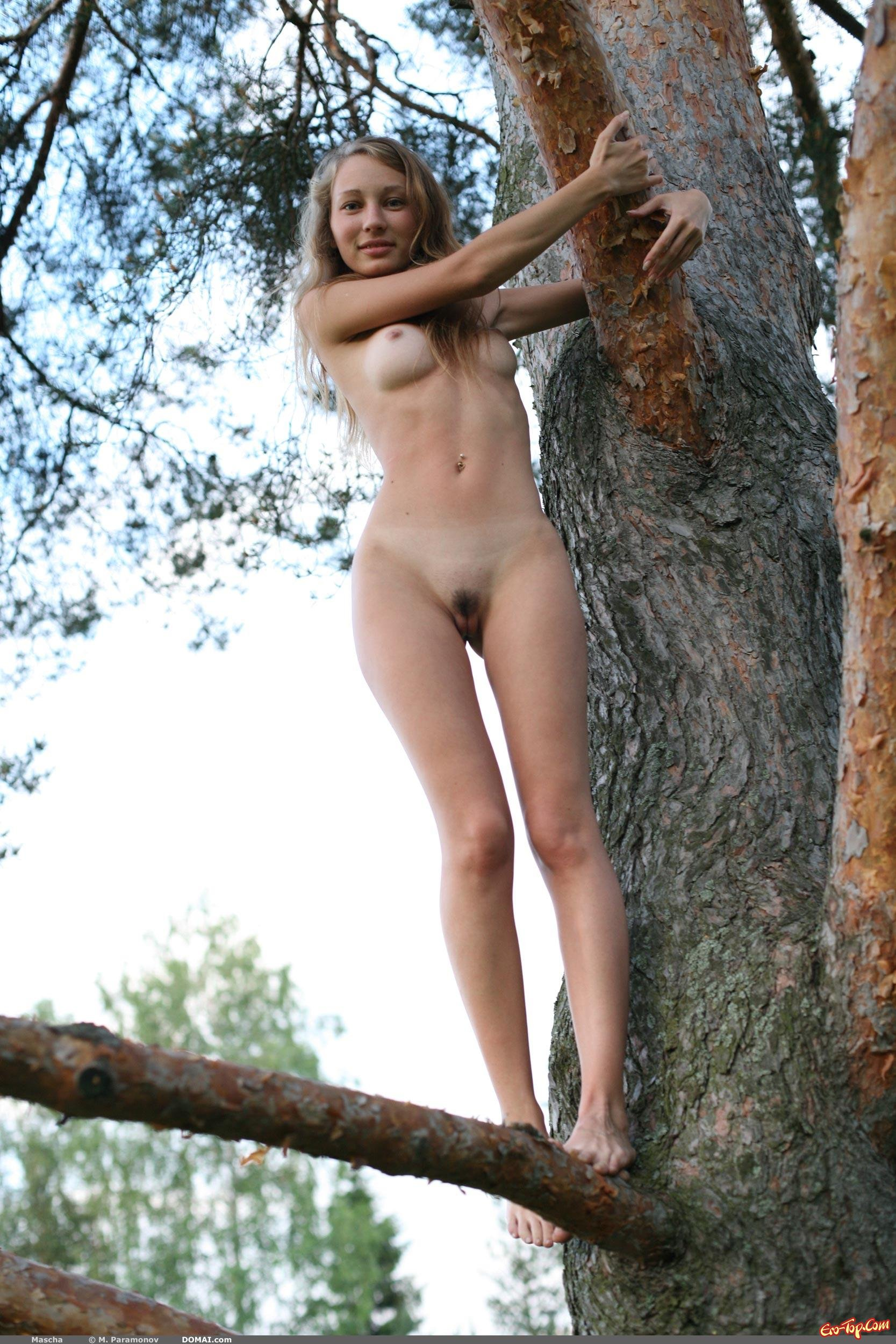 Раздетая на дереве