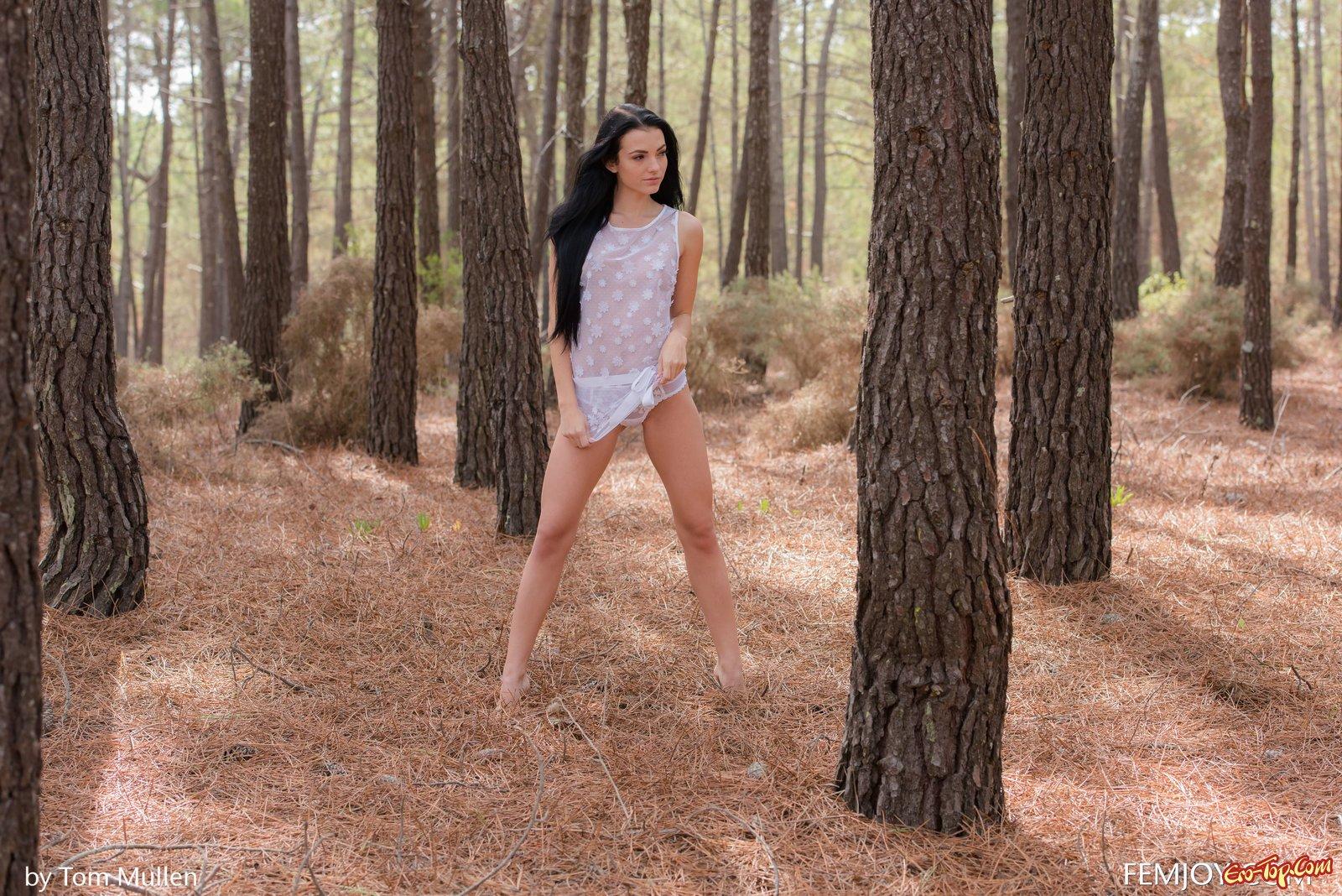 Симпатичная голая брюнетка в лесу