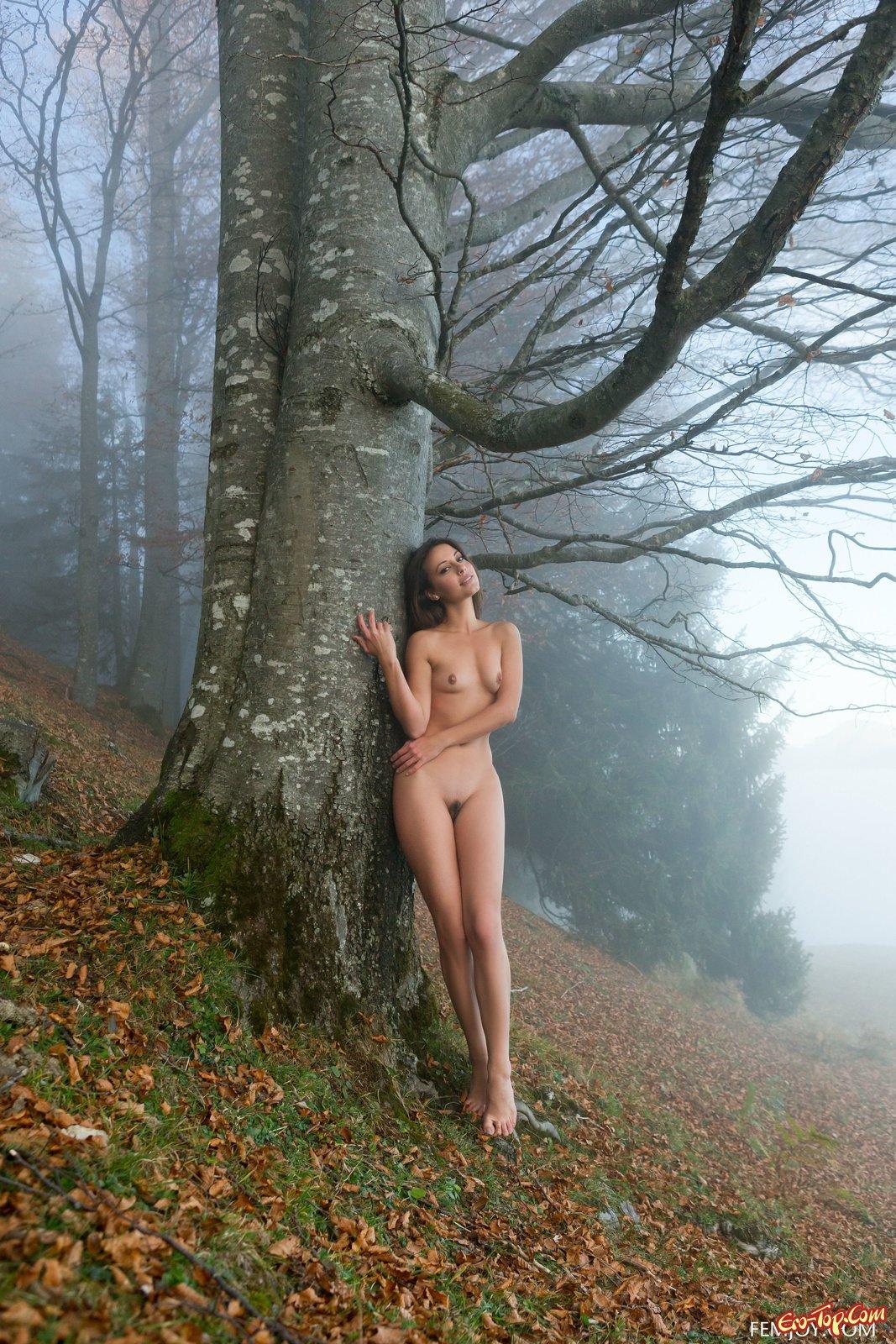 Обнажённая девушка демонстрирует тело в лесу
