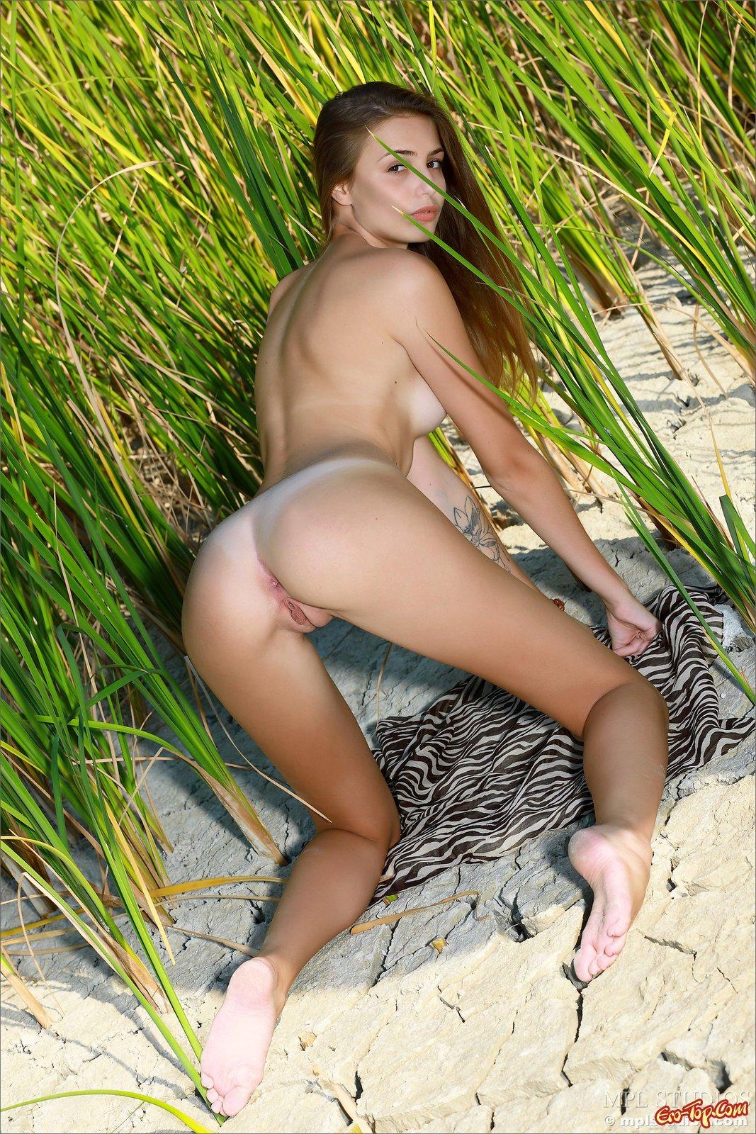 Голая девушка показала себя позируя в камышах