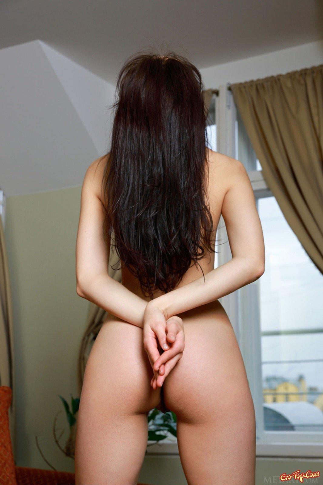 Хорошенькая голая темненькая девушка в чокере блистает задницей секс фото