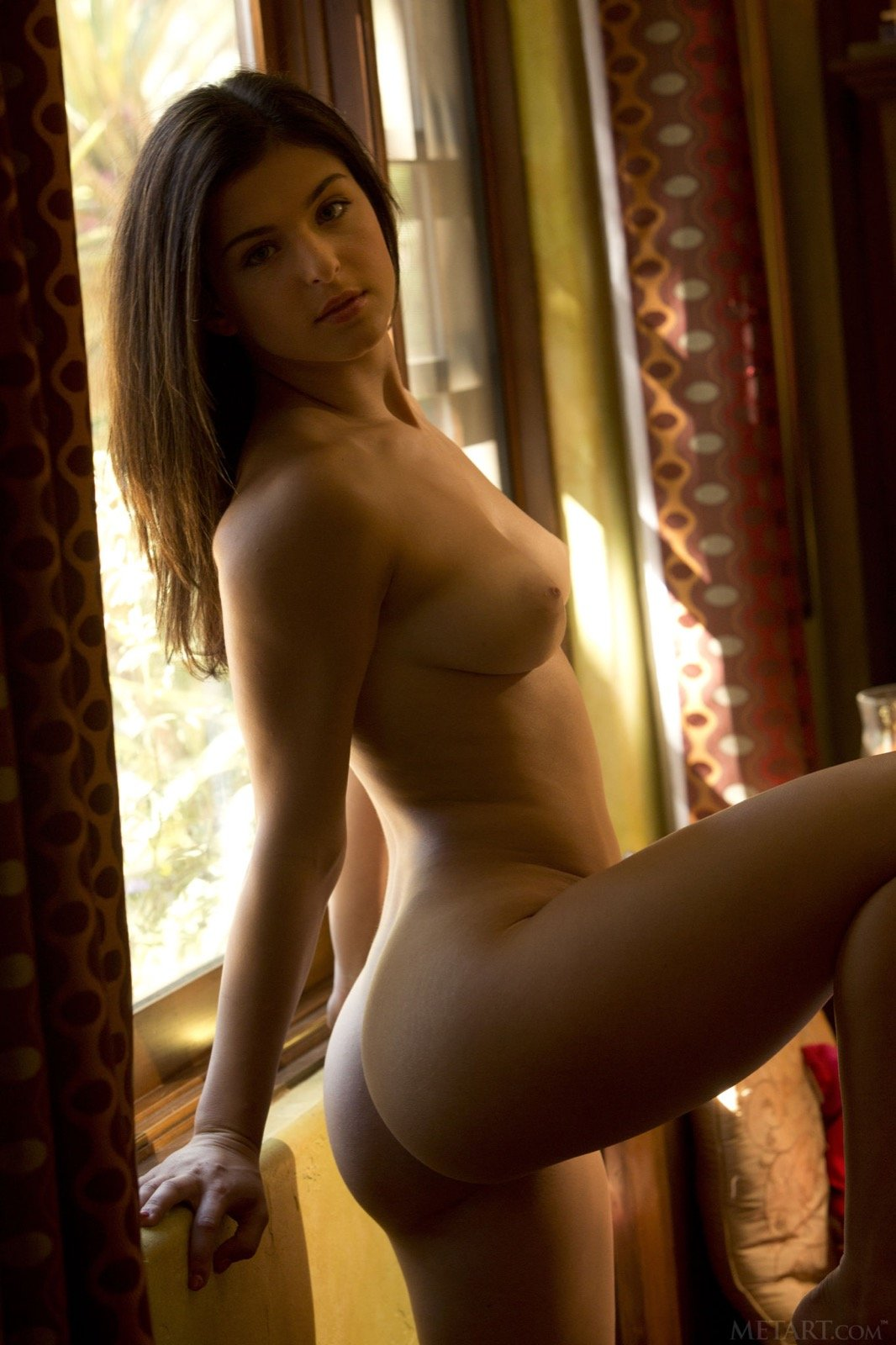 Восхитительная тёлка без стрингов фотографируется в своей квартире