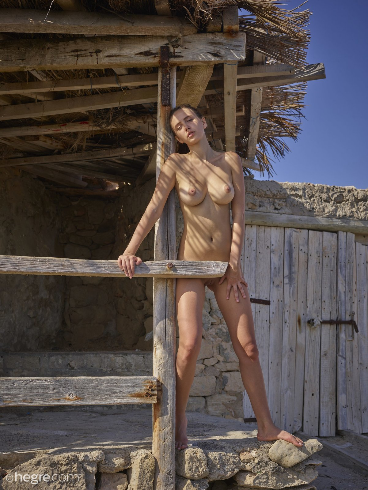 Голенькая красавица сексуально позирует на улице
